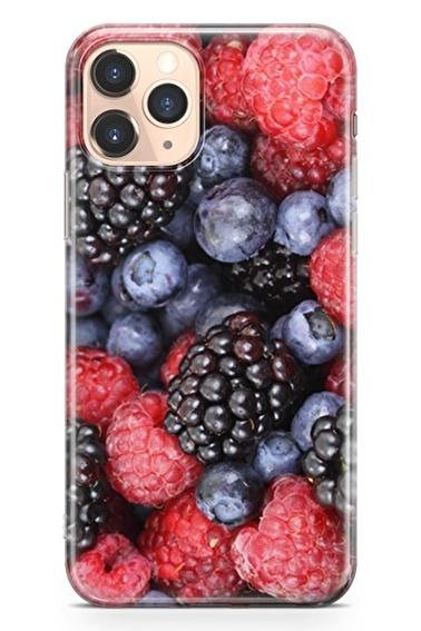 Lopard İphone 11 Pro Kılıf Silikon Arka Kapak Koruyucu Böğürtlen Yaban Mersini Desenli Full HD Baskılı Renkli